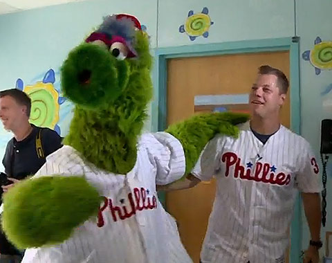 Phillies Pitcher Andrew Bailey and the Phillie Phanatic
