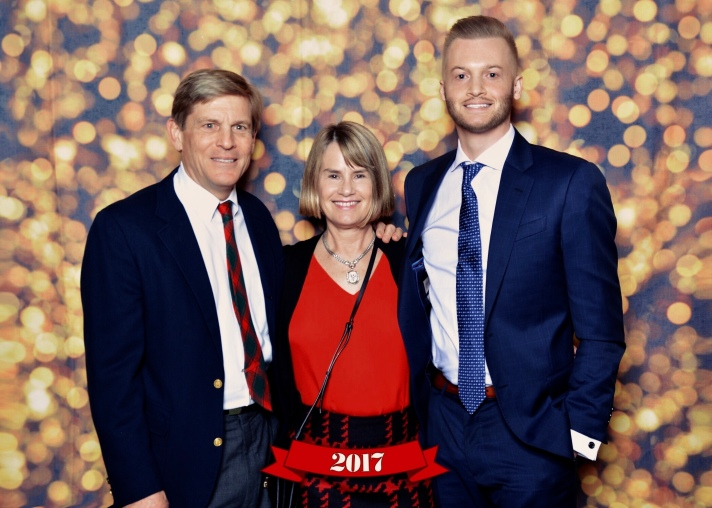 John Powers Middleton and parents Phillies Holiday Party 2017